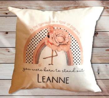 Flamingo Rainbow Positivity Cushion Gift, Personalised Cushion , You Were Born To Stand Out