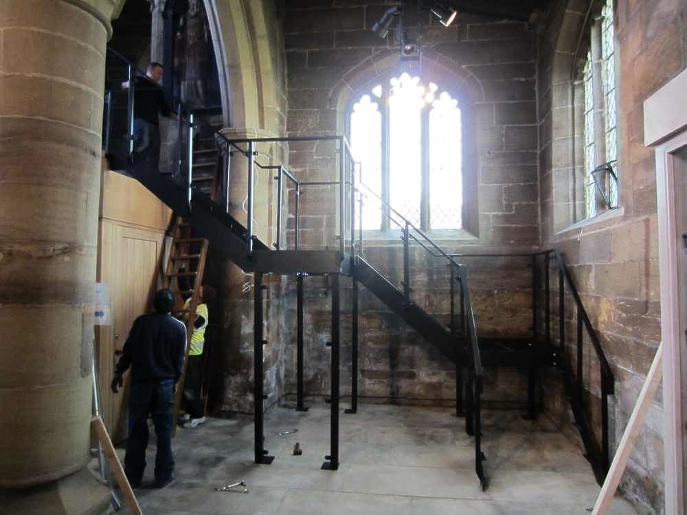 Installation - church stairs - in construction