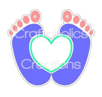 1 x Heart Feet Clear Acrylic Blank