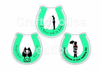 Starter Kit - Pack 4 Wedding Horseshoe Clear Acrylic Blanks with Electronic Cutting File