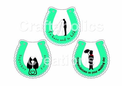 Starter Kit - Pack 4 Wedding Horseshoe Clear Acrylic Blanks with Electronic