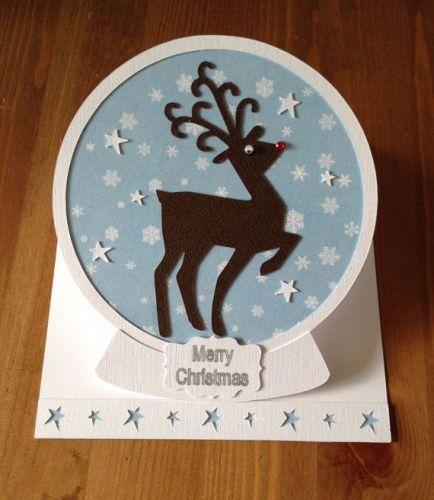 Reindeer Snowglobe Easel Card