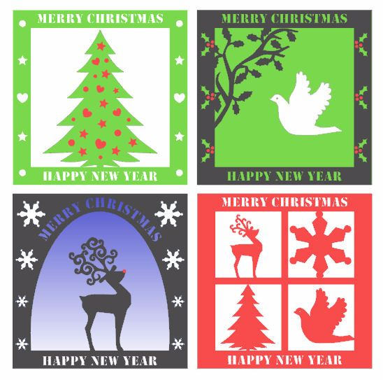 Set of 4 Easy Christmas Toppers.