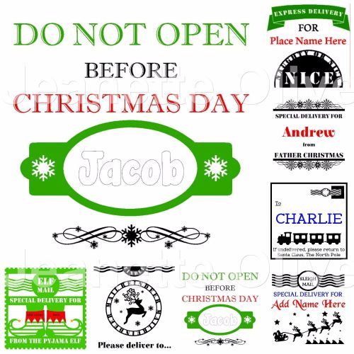 Set of 7 Christmas Sack Designs