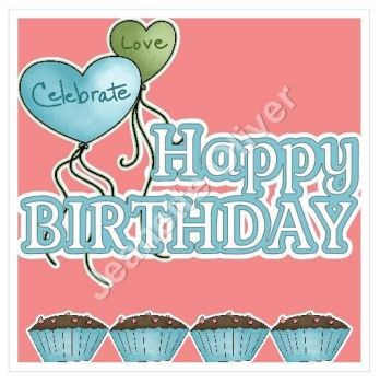 Happy Birthday Cupcake Topper & Aperture Card