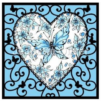 Blue Butterfly Heart Frame
