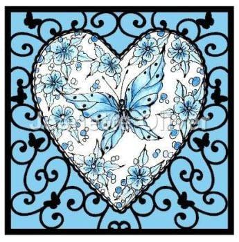 Blue Butterfly Heart Frame