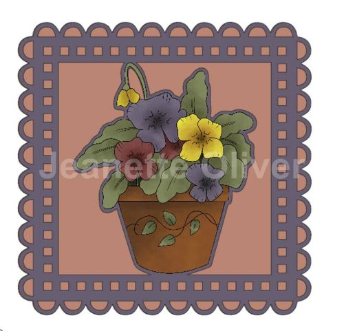 Potted Pansies Topper & Aperture Card