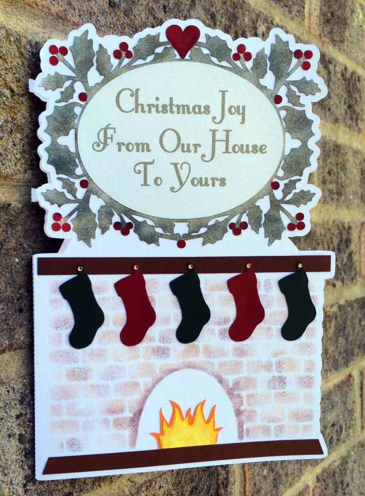 Stockings hung by the  Fireside Shaped Card