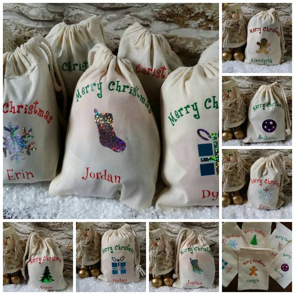 Set of 6 Christmas Favour Bag Designs