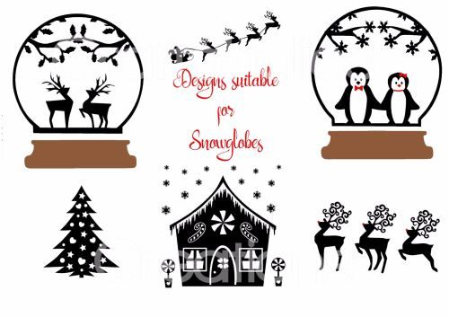 Set of 6 Designs suitable for Snowglobes