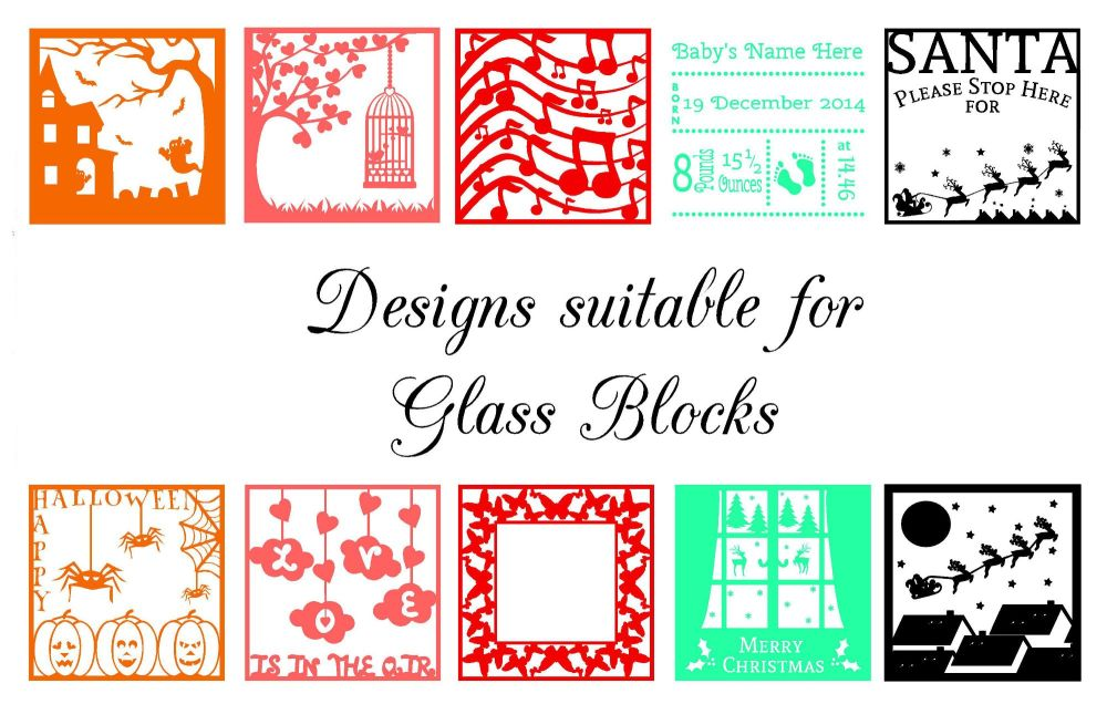 Collection of 10 Designs suitable for frames, glass blocks and more