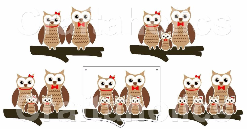 Owl Family for Acrylic Hangers