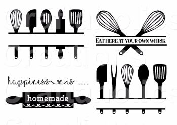 Set of 4 Kitchen Utensil Designs