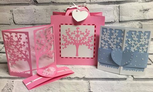 Heart Tree Card with co-ordinating Gift Bag and Tag