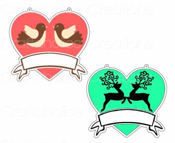 Heart with Banner for Acrylic Hangers