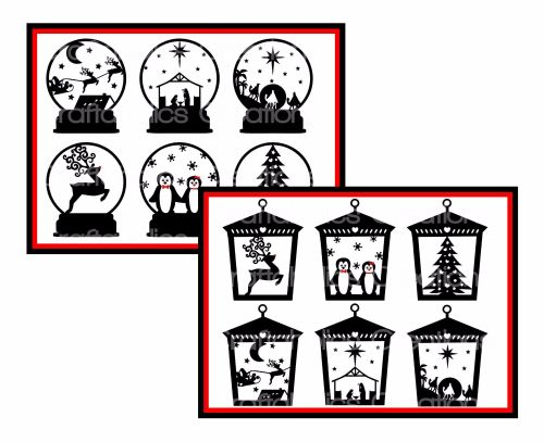 Set of 6 Designs suitable for Snowglobes & Set of 6 Designs suitable for La