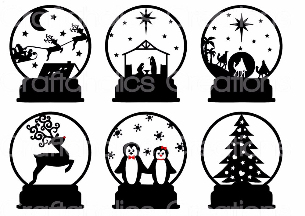 Set of 6 Designs suitable for Snowglobes Acrylic T-Light Stands