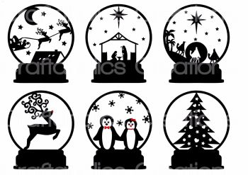 Set of 6 Designs suitable for Snowglobe Acrylic T-Light Stands