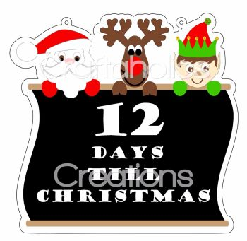 Starter Kit - Pack 4 Countdown to Christmas Clear Acrylic Blanks with Electronic Cutting File