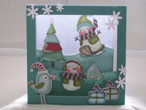 Snowmen Diorama Print and Cut Card