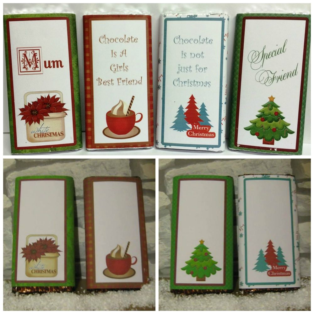 100g Christmas Chocolate Bar Wrappers Set 2.....designed to fit 100g bar