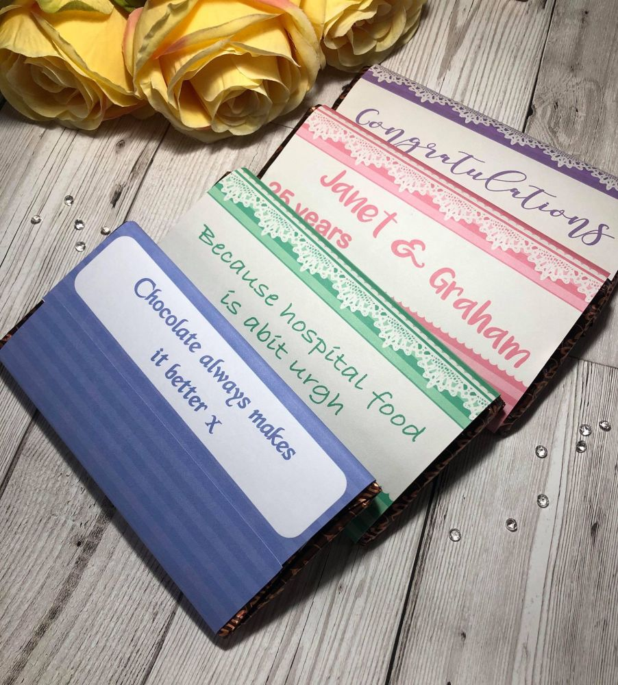 100g Lacy Chocolate Wrapper PASTEL Collection in JPG & PDF