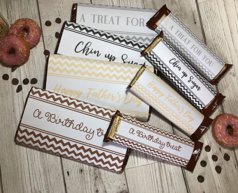 45g & 100g Chevron Chocolate Wrapper Neutral Collection in JPG & PDF