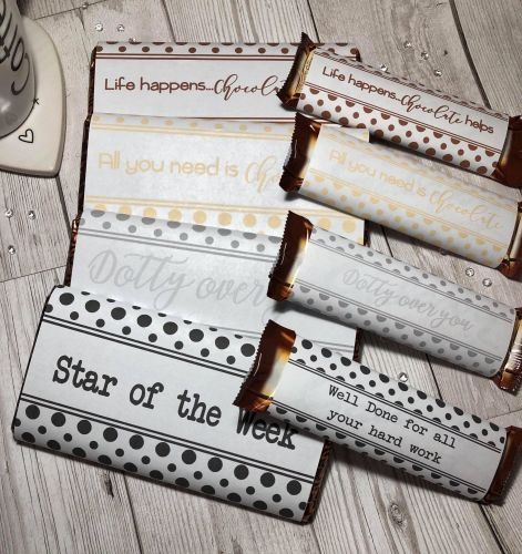 45g & 100g Polka Dot Chocolate Wrapper NEUTRAL Collection in JPG & PDF