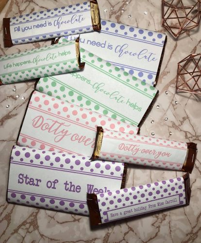 45g & 100g Polka Dot Chocolate Wrapper PASTEL Collection in JPG & PDF