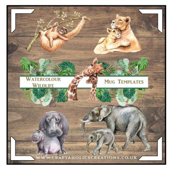 Watercolour Wildlife Mug Templates SET 1