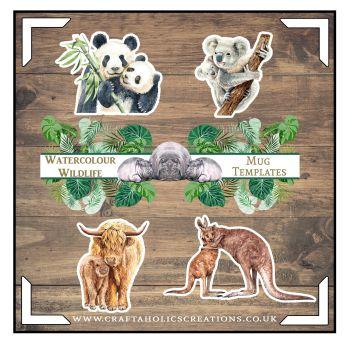Watercolour Wildlife Mug Templates SET 2
