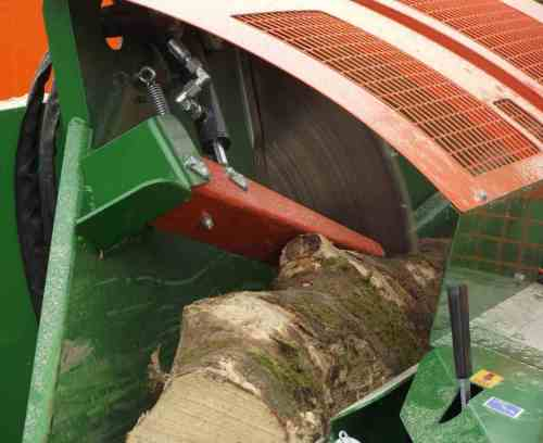 inside firewood processer