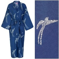 Women's Cotton Kimono Robe - Long Tailed Bird White on Dark Blue
