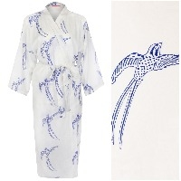 Women's Cotton Kimono Robe - Long Tailed Bird Blue on White