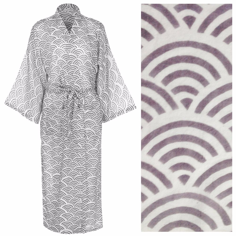 <!-- 006 -->Women's Cotton Kimono Robe - Rainbow Gray