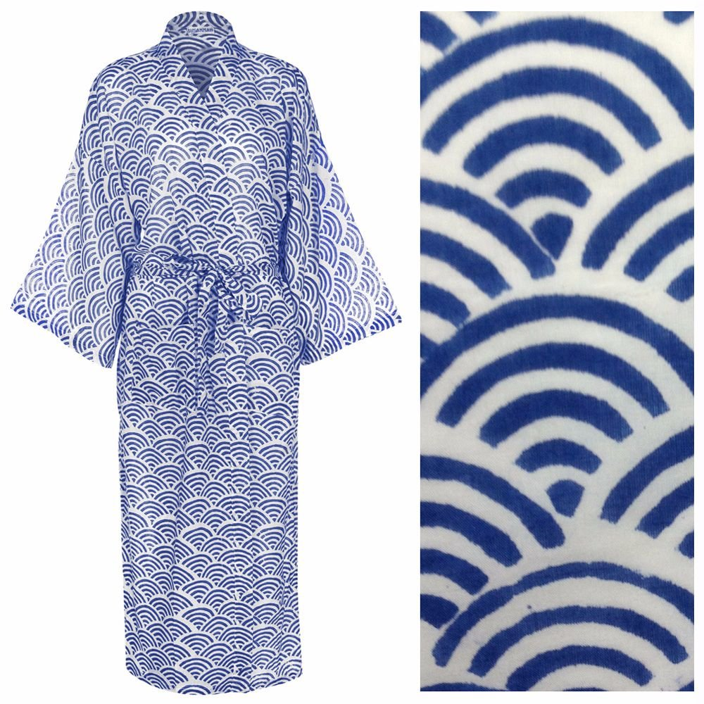 <!-- 008 -->Women's Cotton Kimono Robe - Rainbow Blue