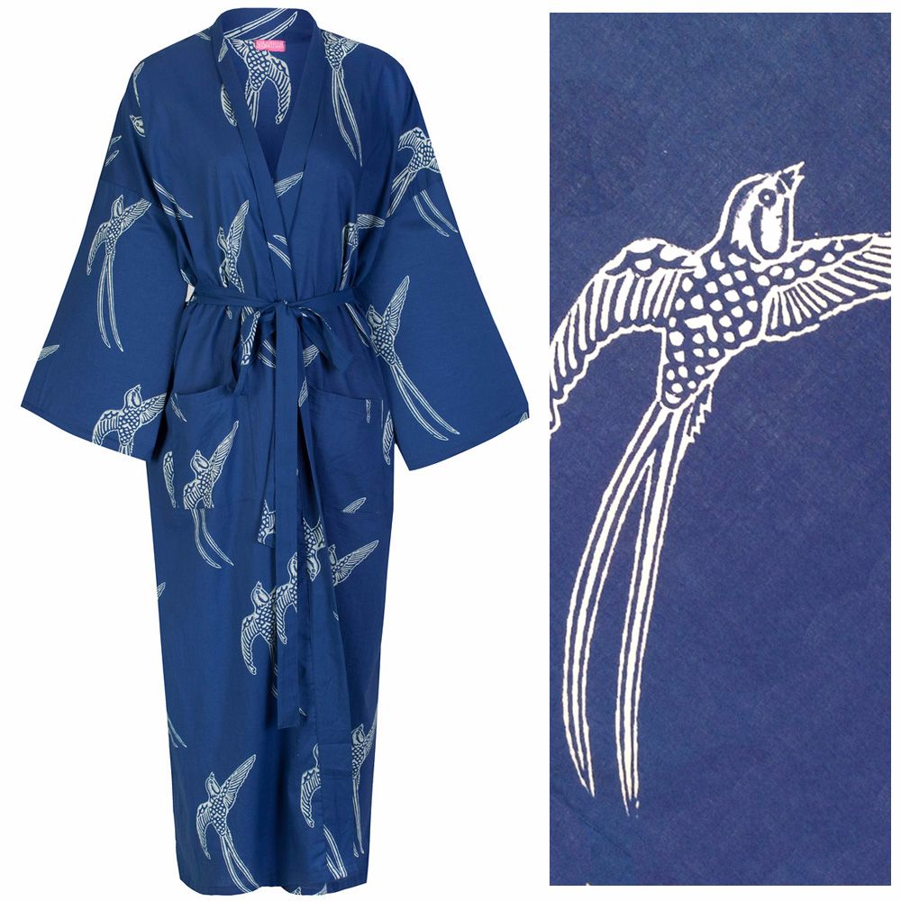 <!-- 001 -->Our Most Popular Robe! Women's Cotton Kimono Robe - Long Tailed