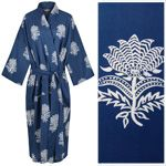 Women's Cotton Kimono Robe - Tiger Flower White on Dark Blue
