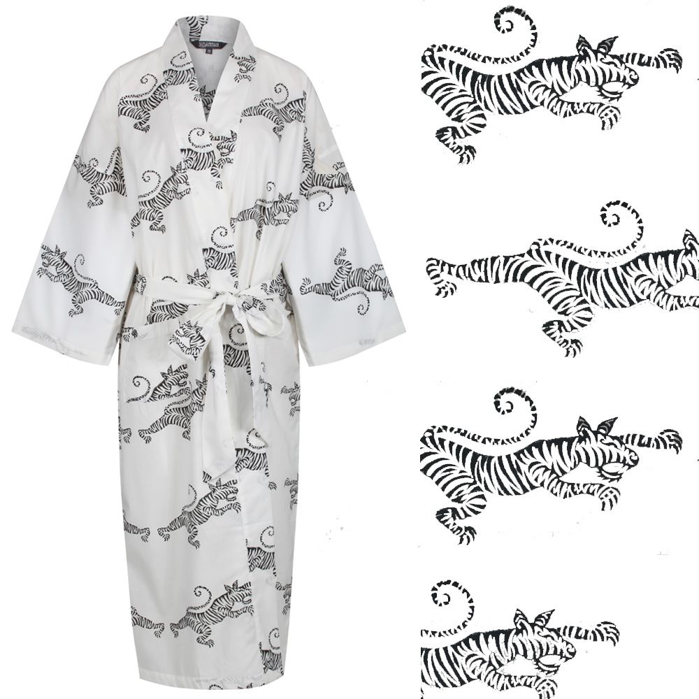 <b>JUST IN! Women's Cotton Dressing Gown Kimono - Tigers on White</b>