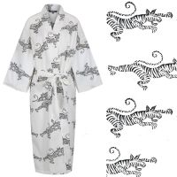 JUST IN! Women's Cotton Dressing Gown Kimono - Tigers on White