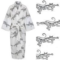 Women's Cotton Dressing Gown Kimono - Tigers on White