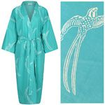 NEW!! Women's Cotton Kimono Robe - Long Tailed Bird White on Emerald Green