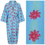 Women's Cotton Kimono Robe - Blossom and Leaf Pink on Blue