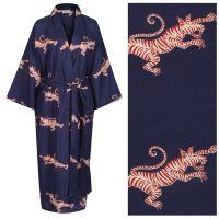 NEW!! Women's Cotton Kimono Robe - Fighting Tigers Red and Cream on Dark Blue