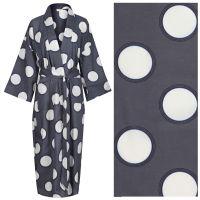 NEW!! Women's Cotton Kimono Robe - Circles with Black Rings on Dark Gray