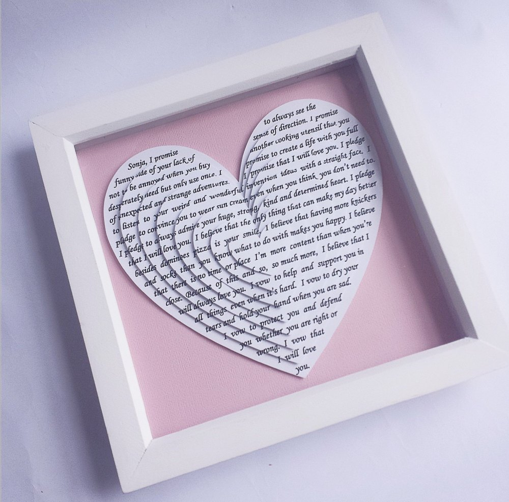 Framed 3d Layered Hearts 9 x 9 inch