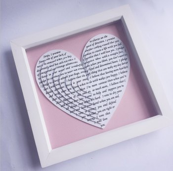 Medium Framed Layered 3D Hearts 9 x 9 inch, Anniversary gift, Wedding Vows, First dance Song lyrics