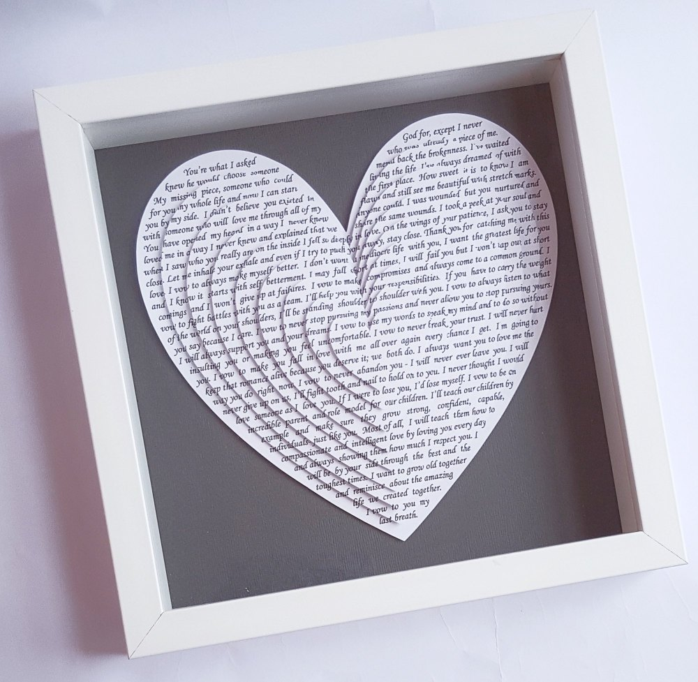 unique gift ideas, frame gifts, song lyrics, vows, poem, anniversary ...