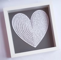 Large Frame gift Layered 3d hearts, Sentimental Anniversary gift 10 x 10 inch, Wedding Vows, Song Lyrics, Poem or Reading